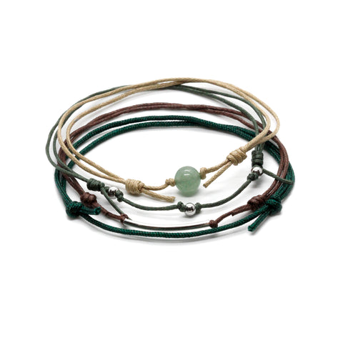Aventurine ankle bracelet set with real gemstone and 4 cord bracelets