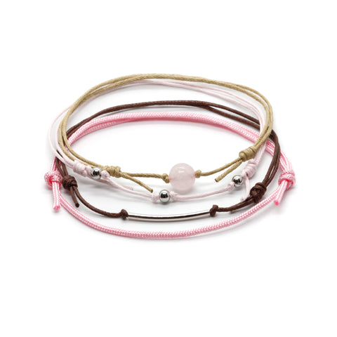 Rose Quartz Gemstone Anklet - 4 Piece Set