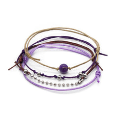 Amethyst Gemstone Bracelet - 4 Piece Set