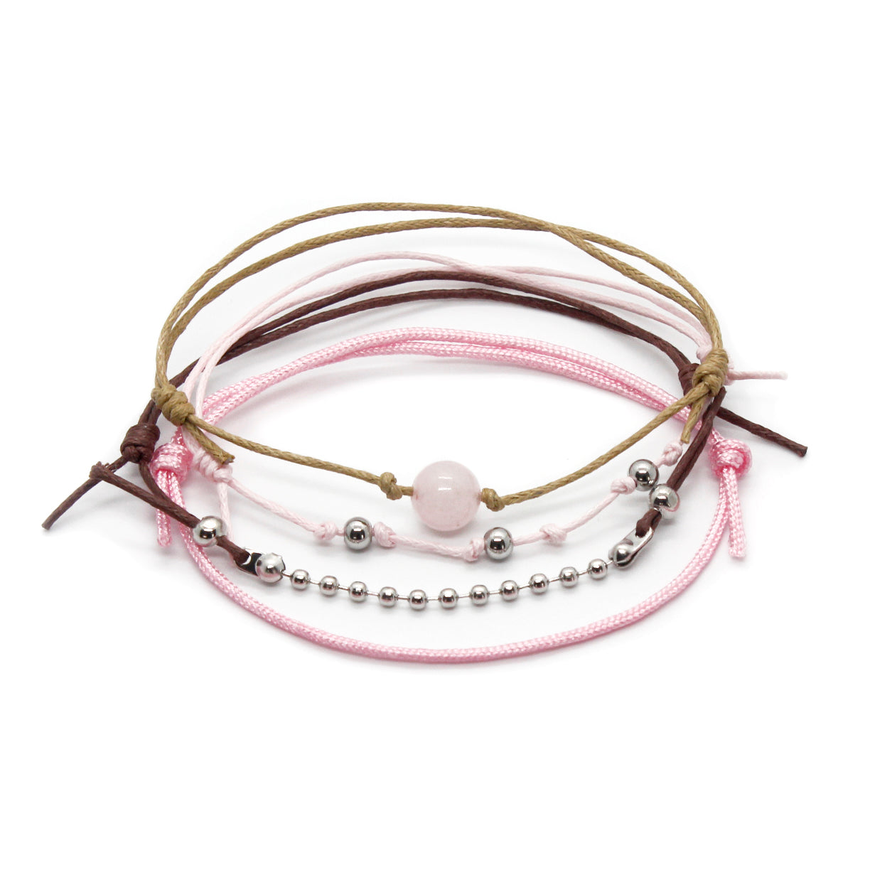 Rose Quartz Gemstone Bracelet - 4 Piece Set - O YEAH GIFTS
