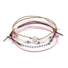 Rose Quartz Gemstone Bracelet - 4 Piece Set