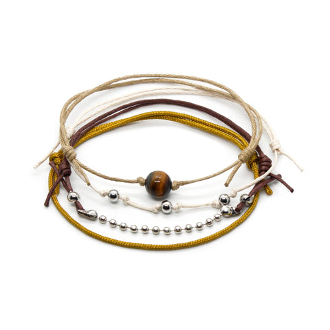 Tiger Eye Gemstone Bracelet - 4 Piece Set