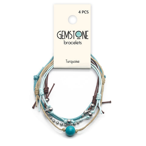Turquoise Gemstone Bracelet - 4 Piece Set