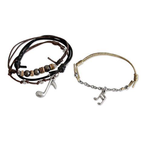 Music note charms on nylon cord bracelets