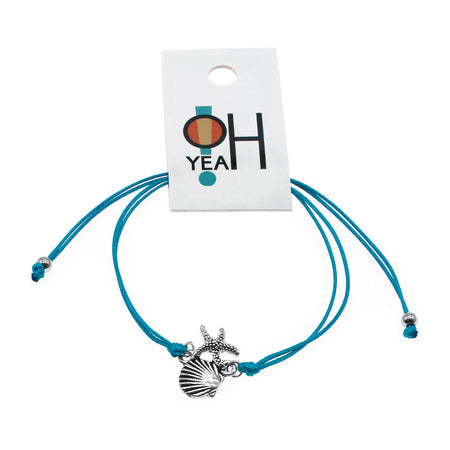 Starfish & Shell Bracelet - Aqua Blue | O Yeah Gifts!