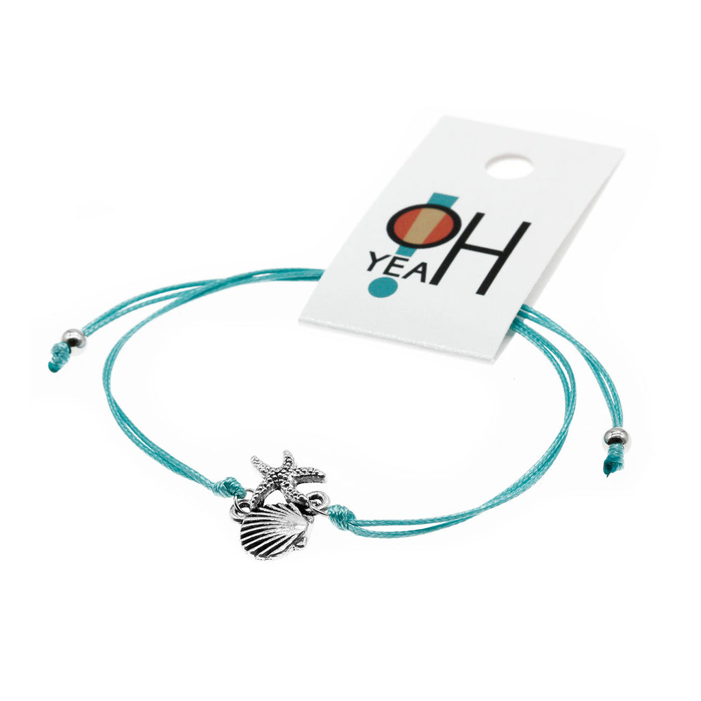 Starfish & Shell Bracelet - Sea Green | O Yeah Gifts!
