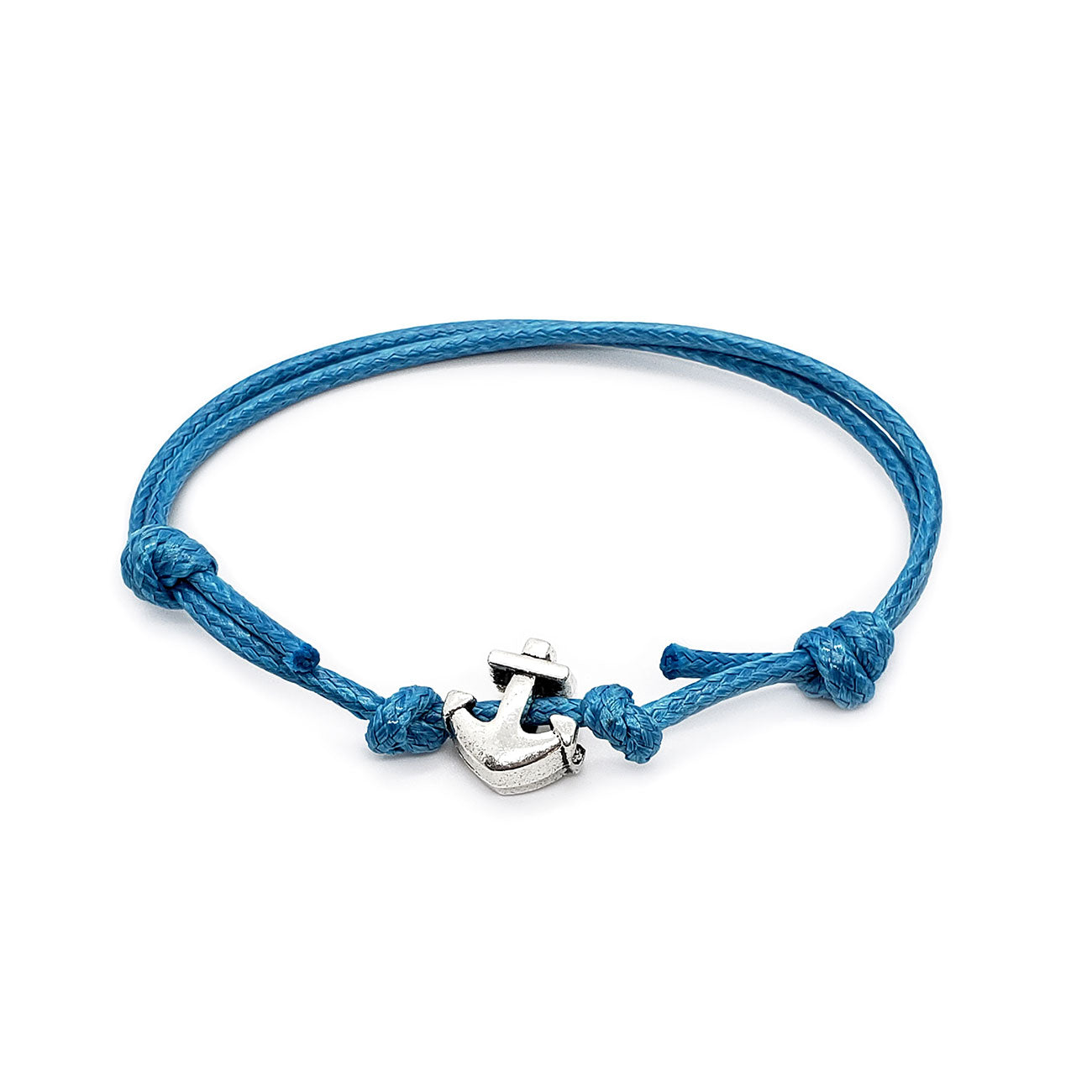 silver anchor charm on adjustable blue cord bracelet
