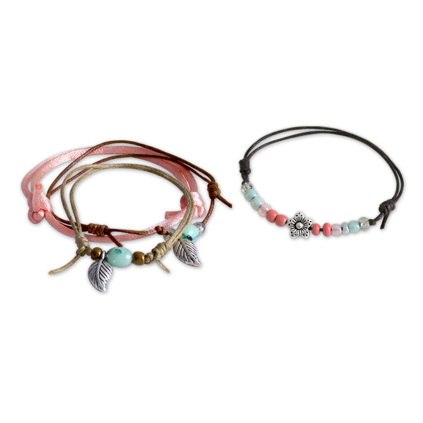 Spring Flower & Leaf Bracelets - 4 Piece Set | O Yeah Gifts!