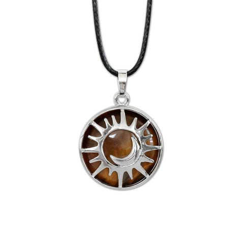 Sun & Moon Gemstone Necklace - Tiger Eye - O YEAH GIFTS