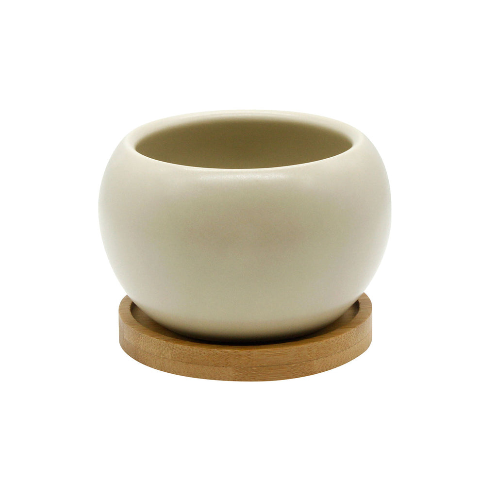 Planter & Bamboo Saucer - Beige | O Yeah Gifts!