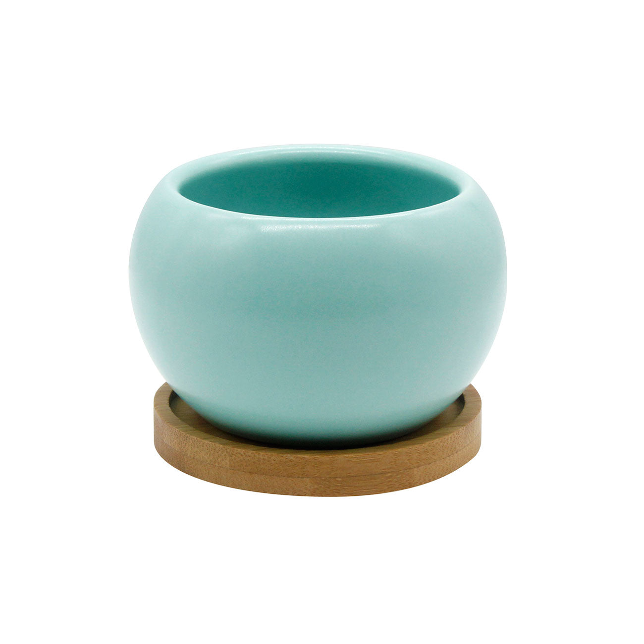 Planter & Bamboo Saucer - Blue - O Yeah Gifts!