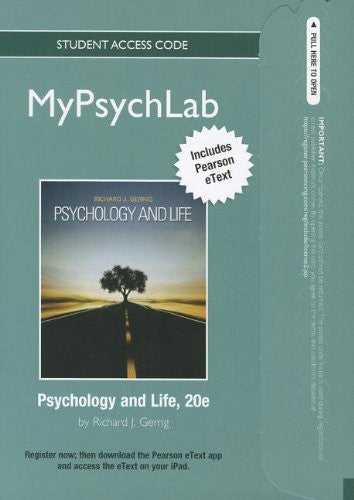 NEW MyPsychLab with Pearson eText -- Standalone Access Card -- for Psychology and Life (standalone) (20th Edition) (Mypsychlab (Access Codes))