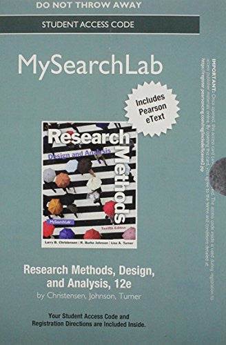 NEW MySearchLab with Pearson eText -- Standalone Access Card -- for Research Methods, Design, and Analysis (12th Edition)