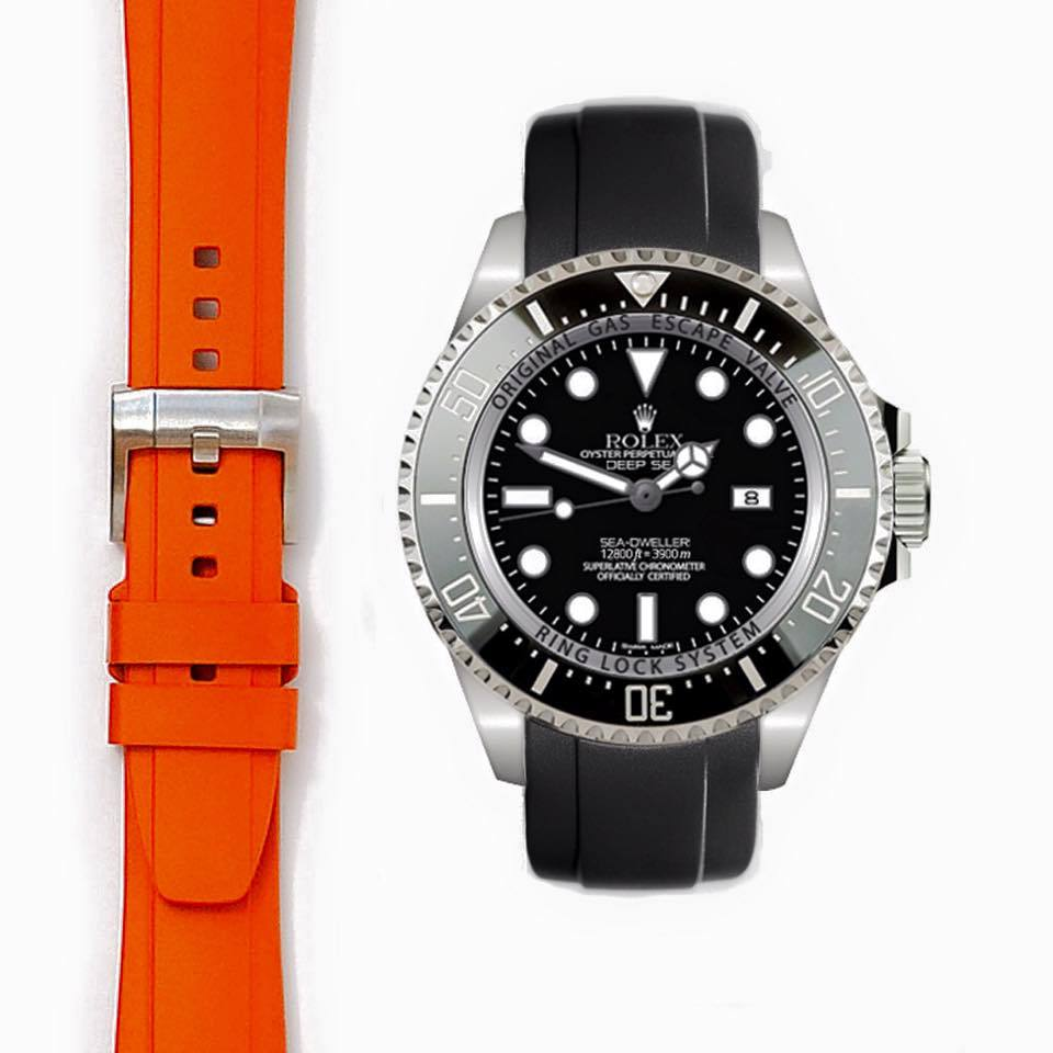 Everest Curved End Rubber with Tang Buckle for Rolex Deepsea