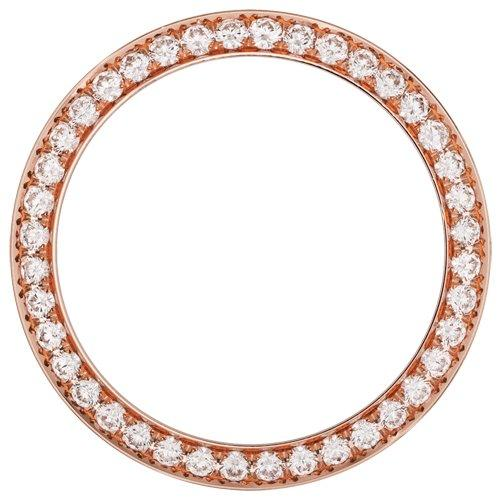 18K ROSE GOLD 1.10CT MID SIZE 31MM BEAD/PAVE SET DIAMOND BEZEL