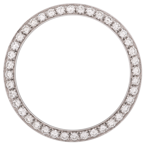 18K WHITE GOLD 0.75CT MID SIZE 31MM BEAD/PAVE SET DIAMOND BEZEL