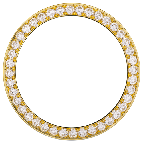 18K YELLOW GOLD 0.75CT MID SIZE 31MM BEAD/PAVE SET DIAMOND BEZEL