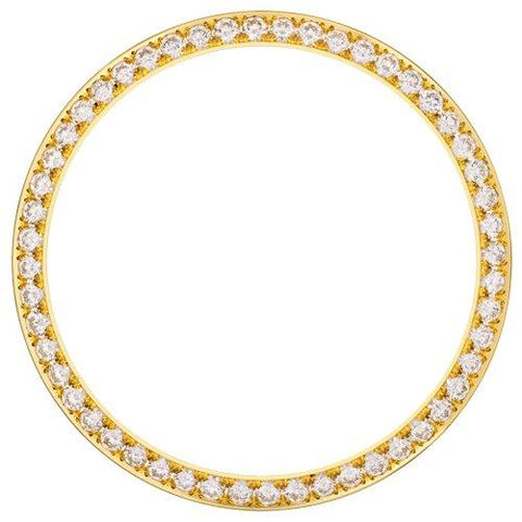 18K YELLOW GOLD 1.30CT DATE JUST 36MM BEAD/PAVE SET DIAMOND BEZEL
