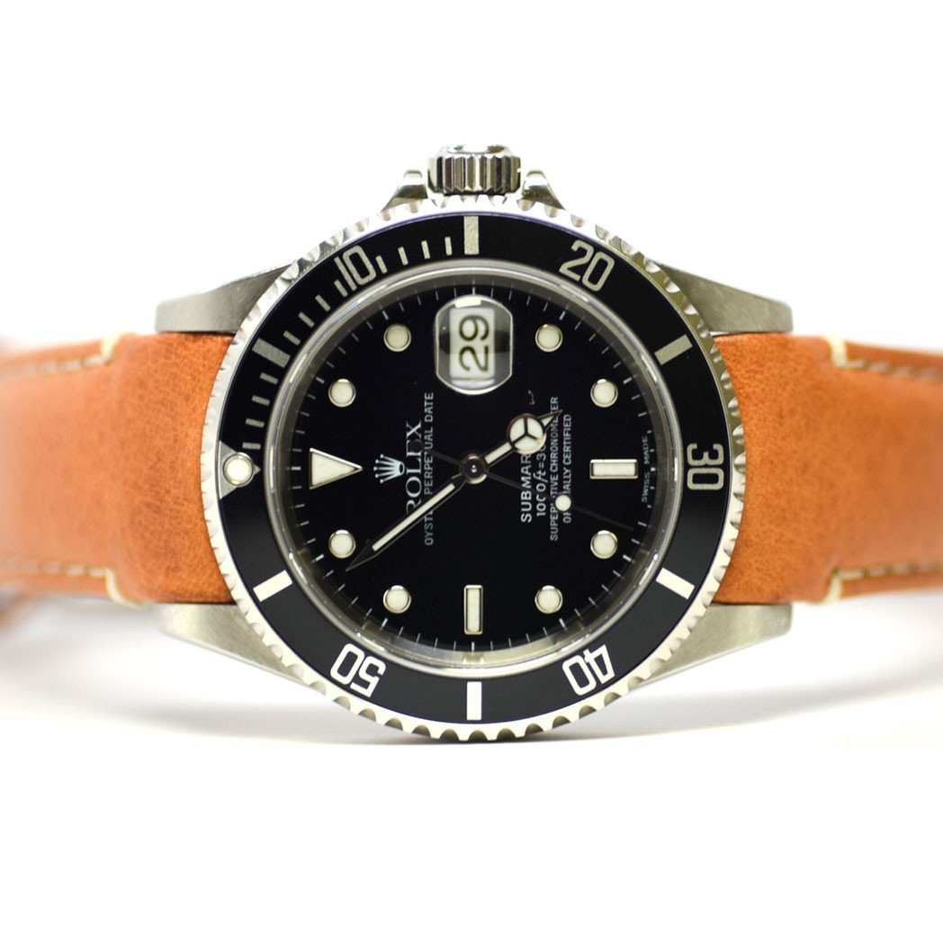 Everest Curved End Leather Strap for Rolex Submariner Ceramic Deployant Buckle
