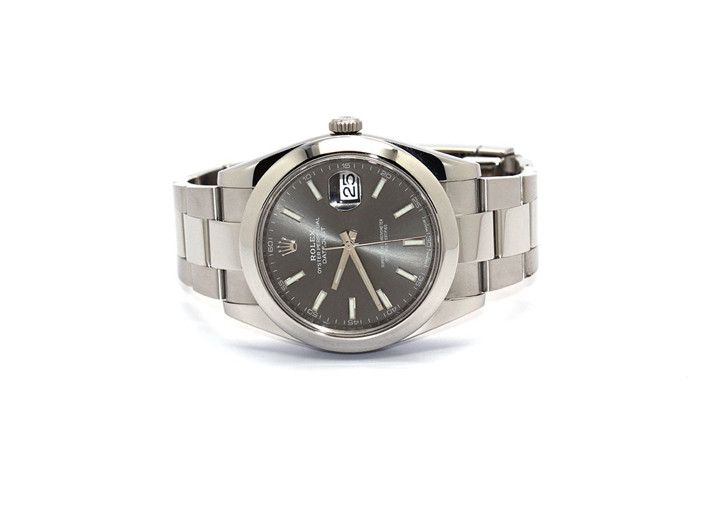 PREOWNED ROLEX DATEJUST 41 RHODIUM DIAL 126300