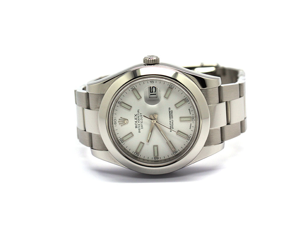 PREOWNED ROLEX DATEJUST 41 WHITE DIAL 116300