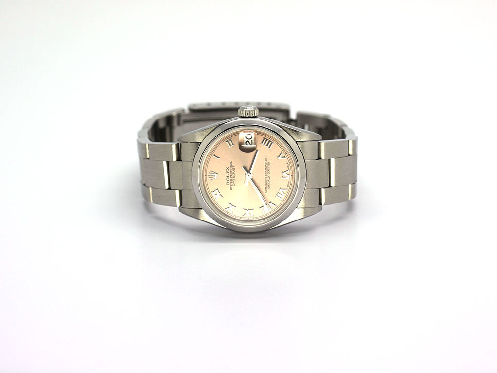 ROLEX DATEJUST 78240 SS MIDSIZE 31MM SALMON DIAL SMOOTH BEZEL
