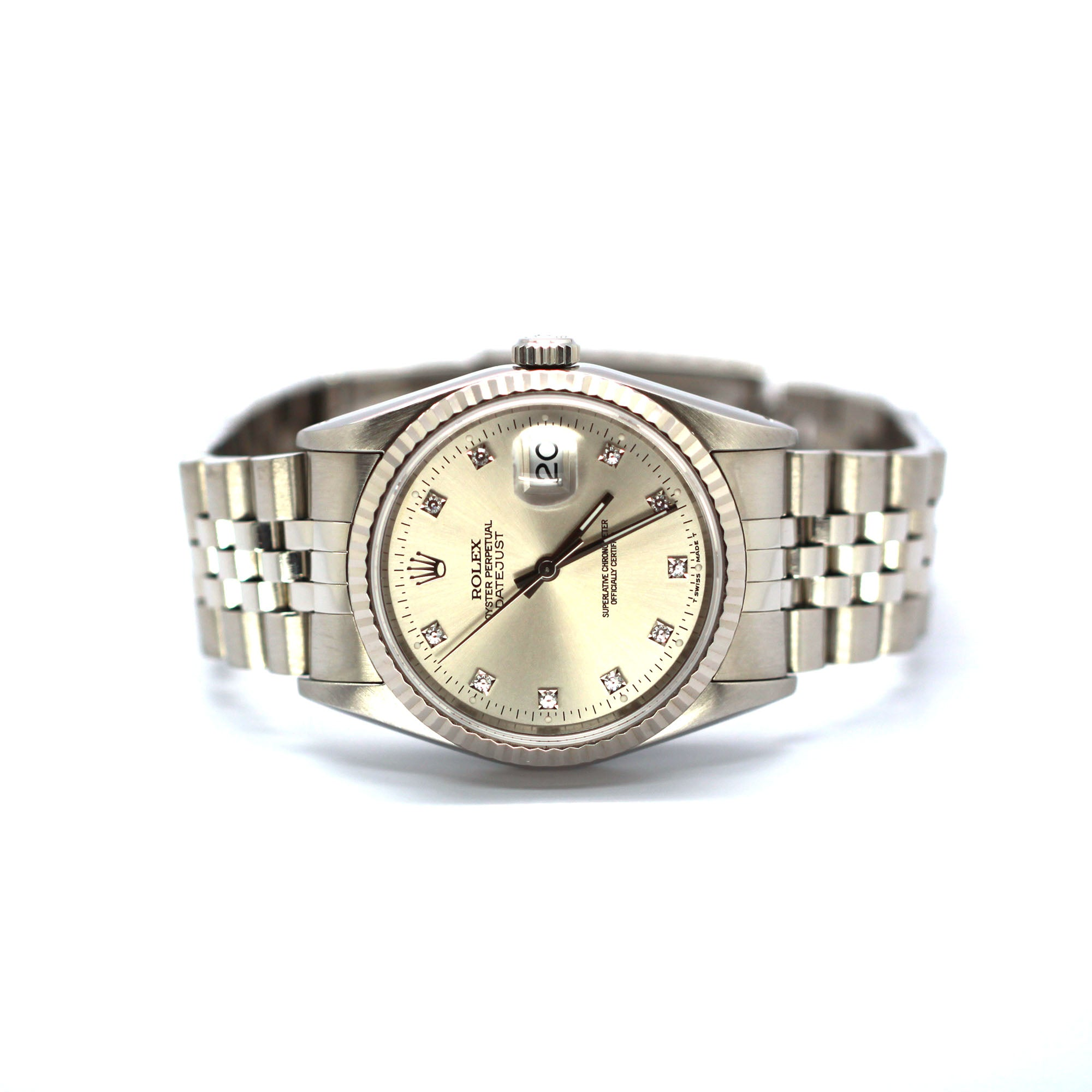 PREOWNED ROLEX DATEJUST 16234 SILVER DIAMOND 36MM