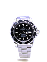 ROLEX SUBMARINER DATE STAINLESS STEEL 16800 BLACK 40MM