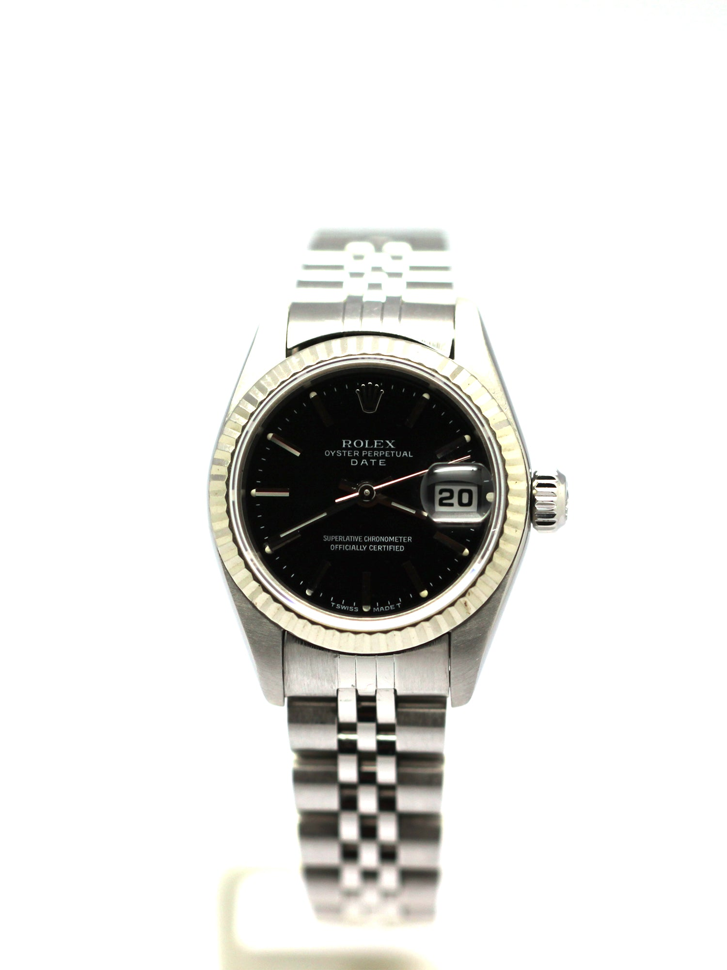 LADIES ROLEX DATE 26MM BLACK INDEX 79240 JUBILEE