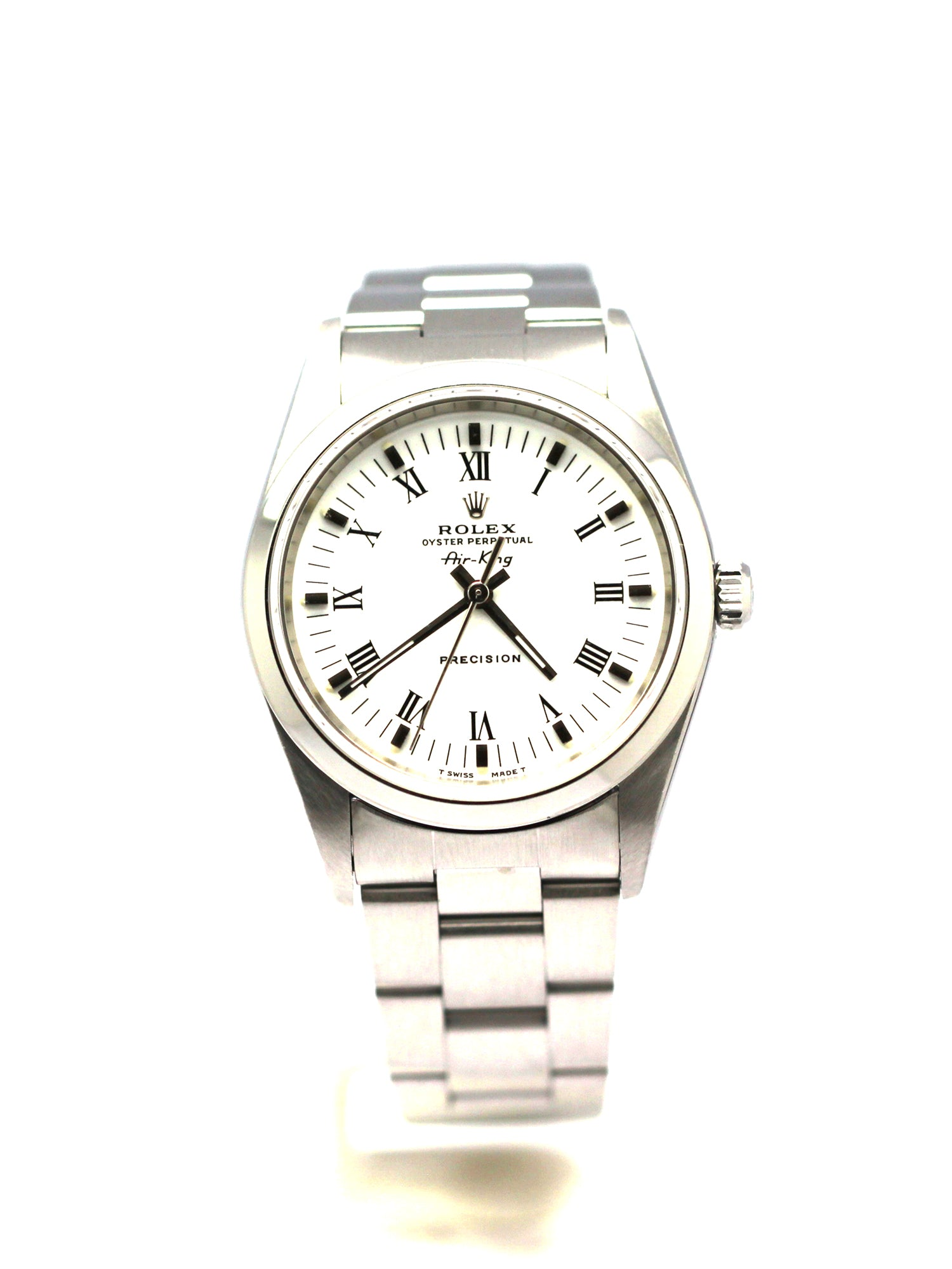 PREOWNED ROLEX OYSTER PERPETUAL AIR-KING 34MM WHITE ROMAN
