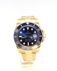 USED ROLEX YELLOW GOLD SUBMARINER 116618LB BLUE DIAL