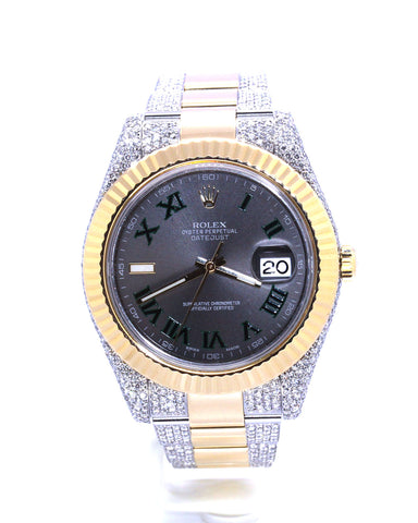 ROLEX TWO-TONE DIAMOND DATEJUST II SLATE ROMAN 41MM 116333