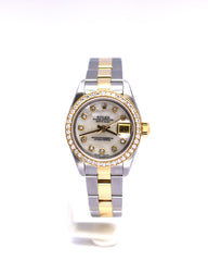 ROLEX DATEJUST 18K/SS 69163 MOP 26MM DIAMOND BEZEL