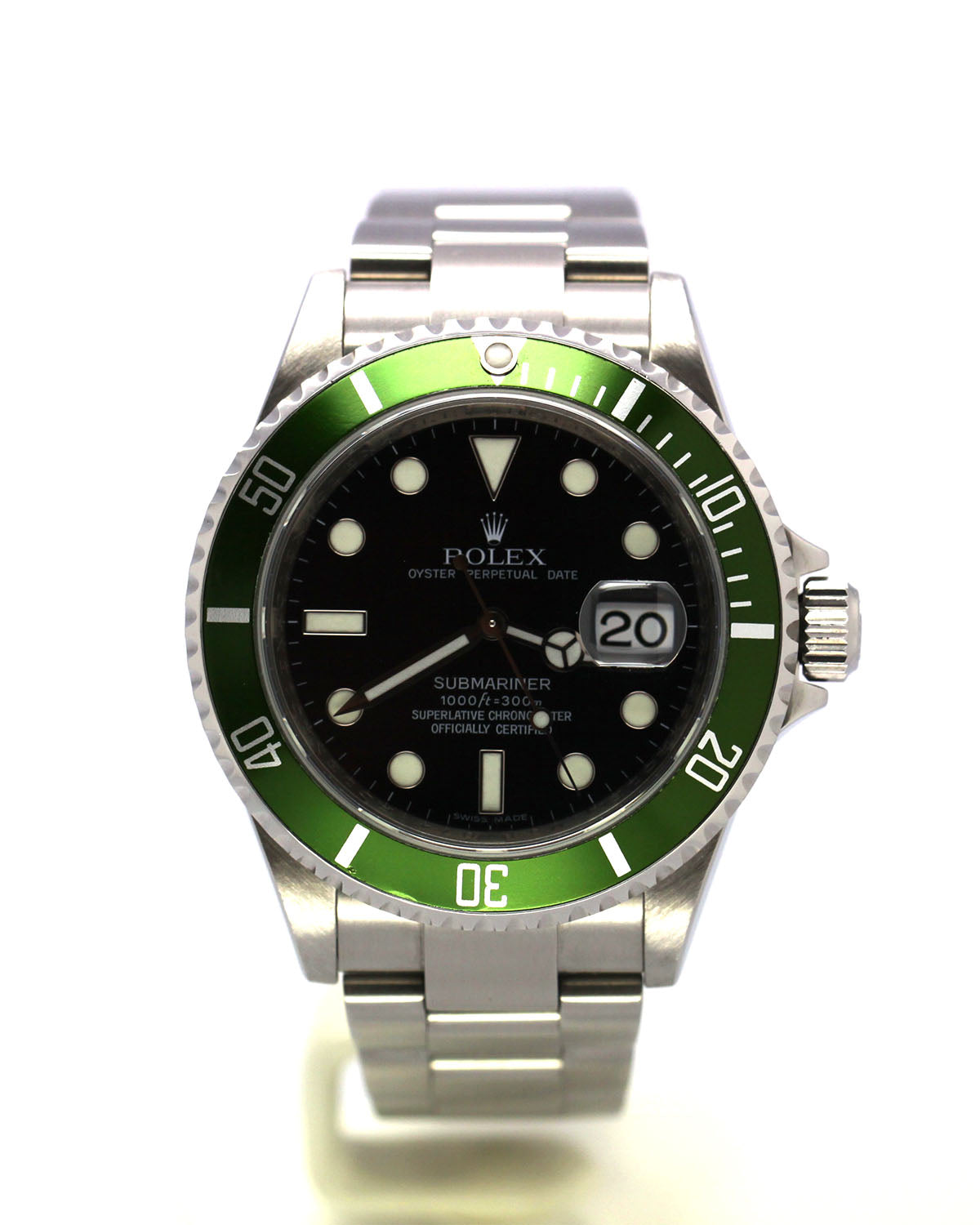 PREOWNED ROLEX STEEL SUBMARINER DATE 16610LV 'KERMIT'