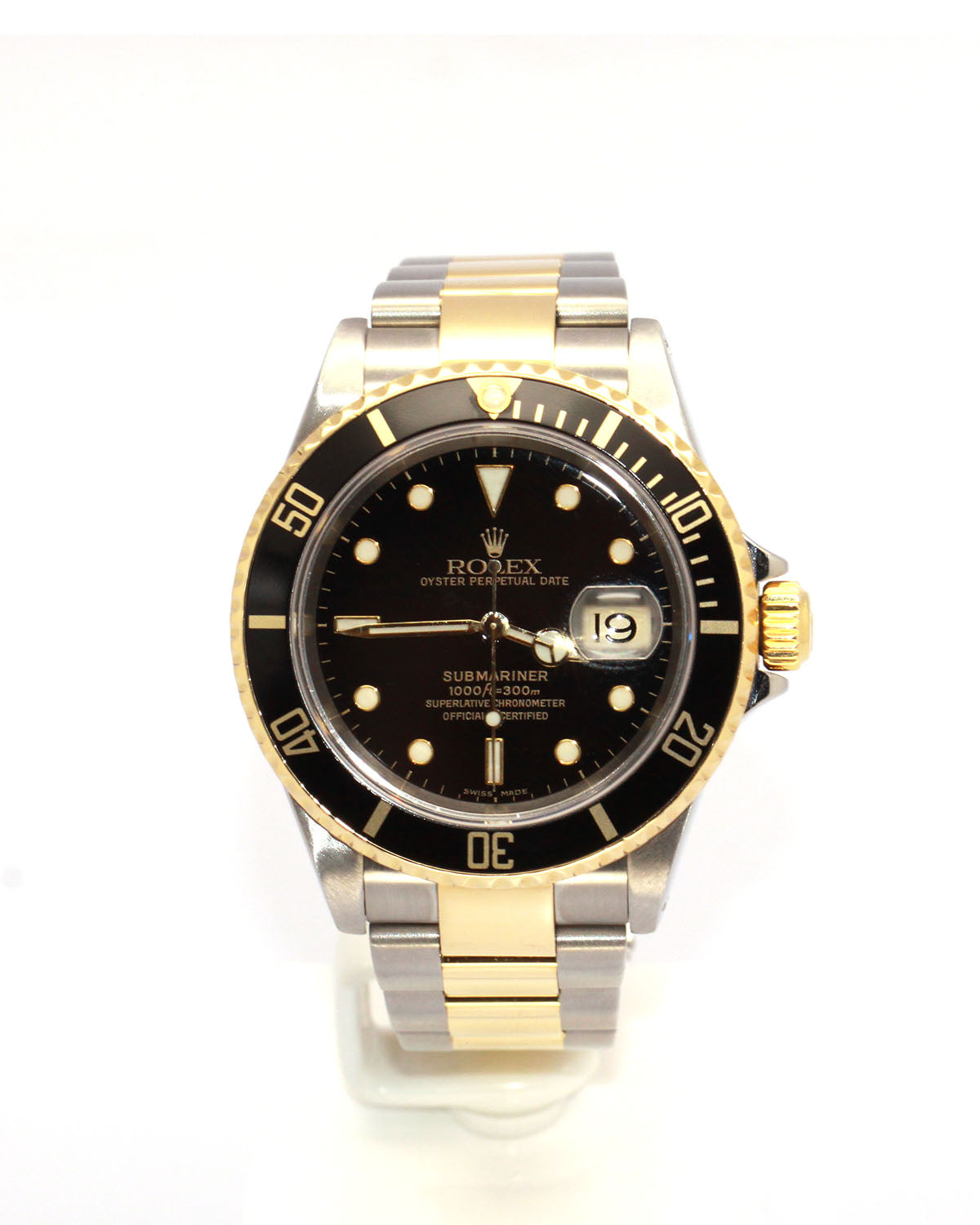 ROLEX BLACK SUBMARINER DATE 16613 TWO,TONE, GOLD CLASP