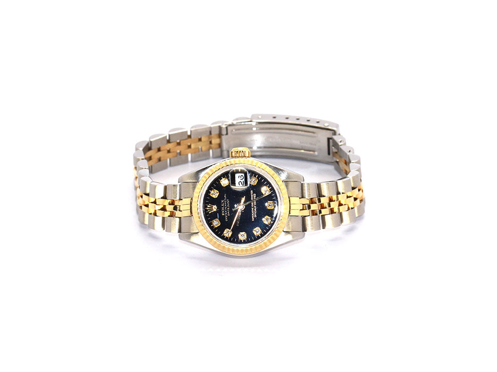ROLEX TWO-TONE LADY DATEJUST 26MM 69173 BLACK DIAMOND DIAL
