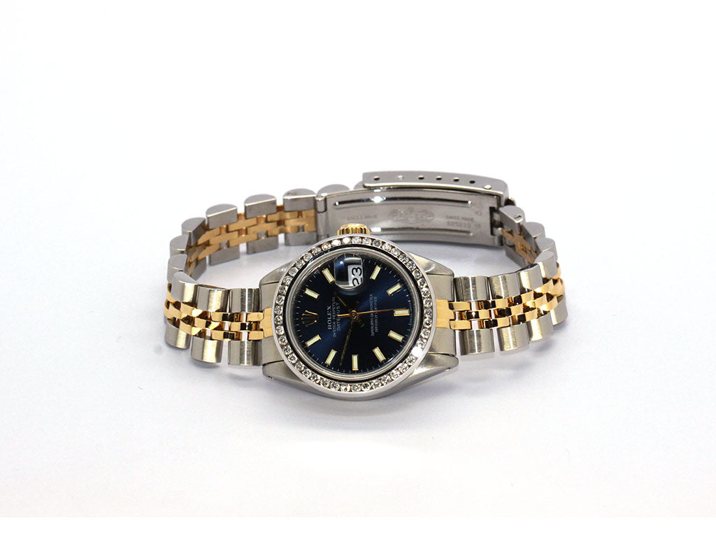 ROLEX DATEJUST 6917 BLUE DIAL 26MM DIAMOND BEZEL