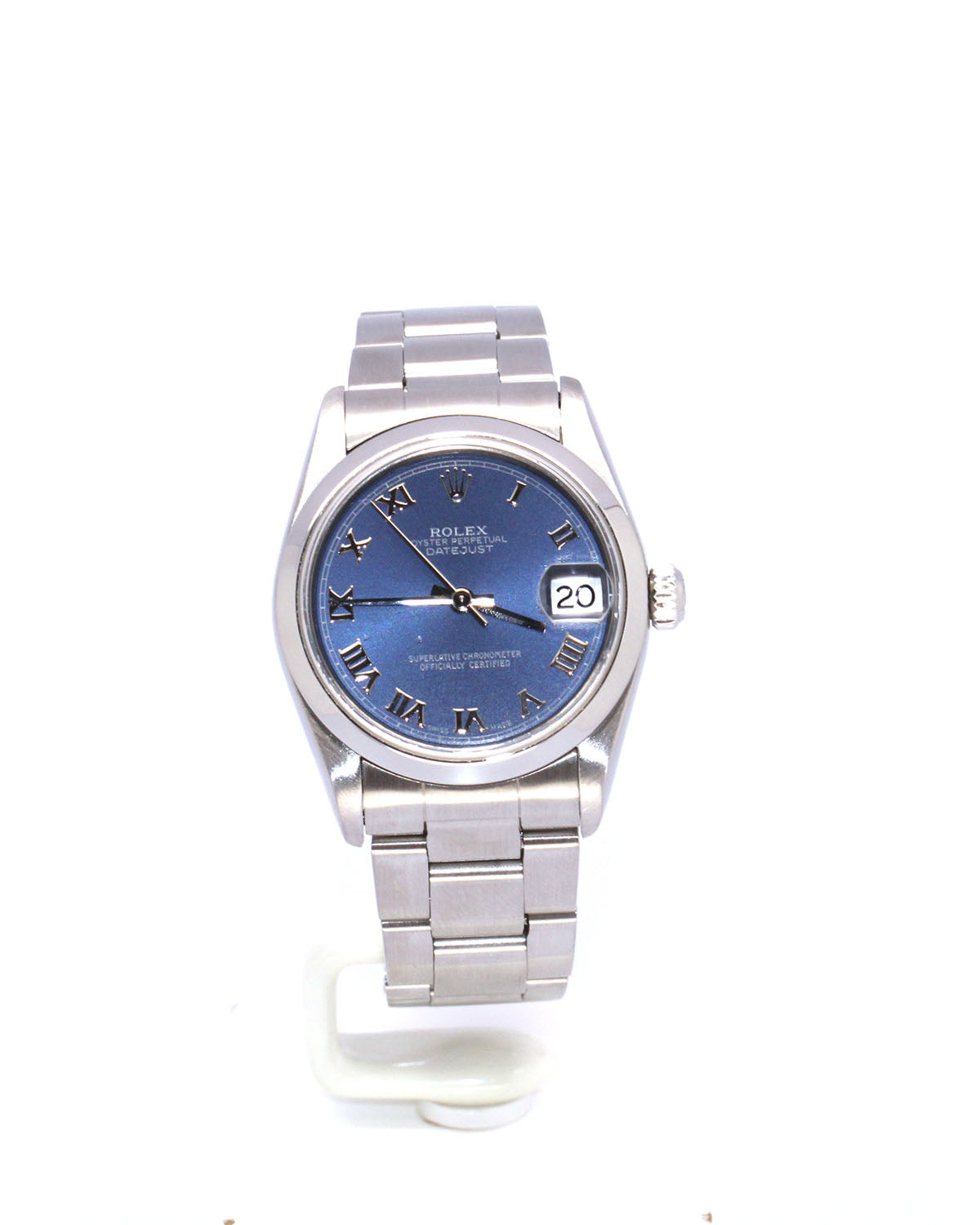 PREOWNED ROLEX DATEJUST 31MM BLUE ROMAN STAINLESS