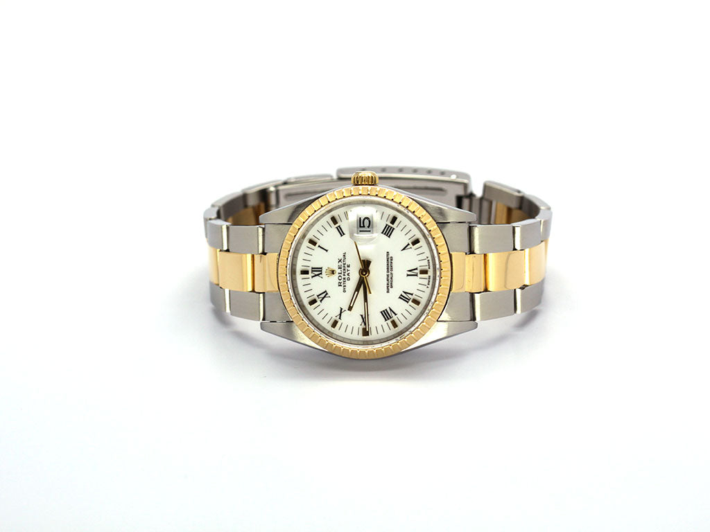 ROLEX DATE 18K/SS 34MM 15223 WHITE ROMAN OYSTER