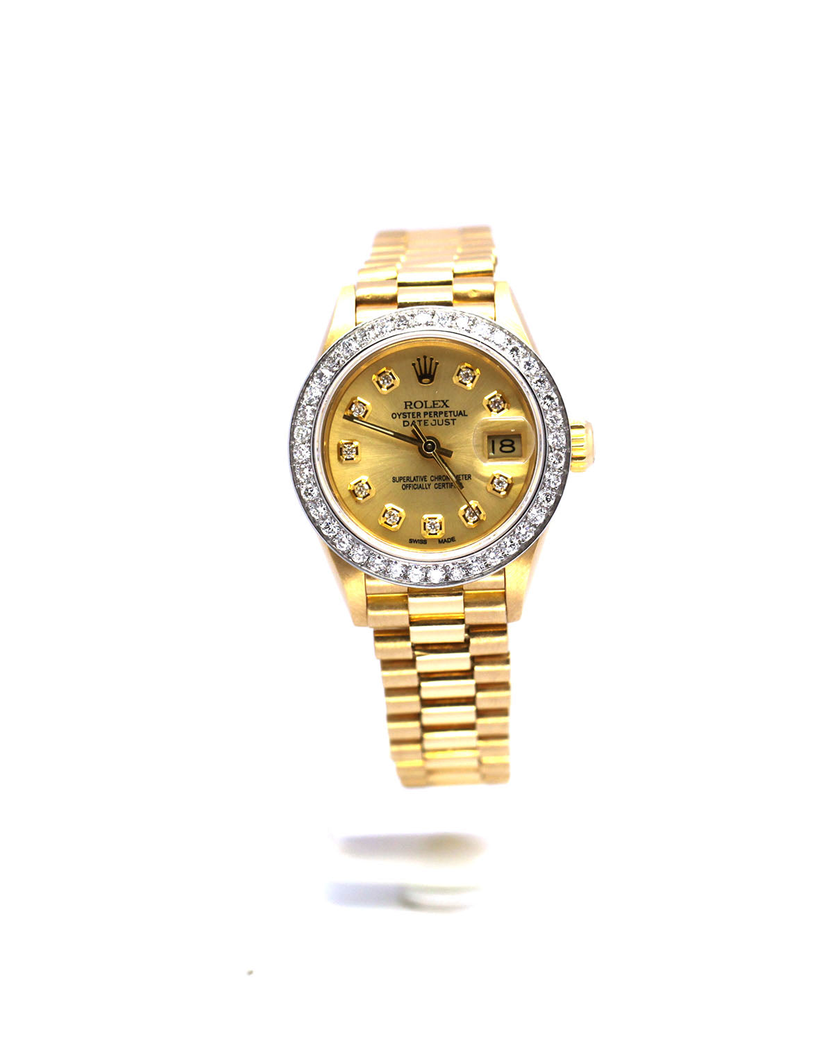 LADIES ROLEX DATEJUST 69178 PRESIDENT CHAMPAGNE DIAL DIAMOND BEZEL 26MM