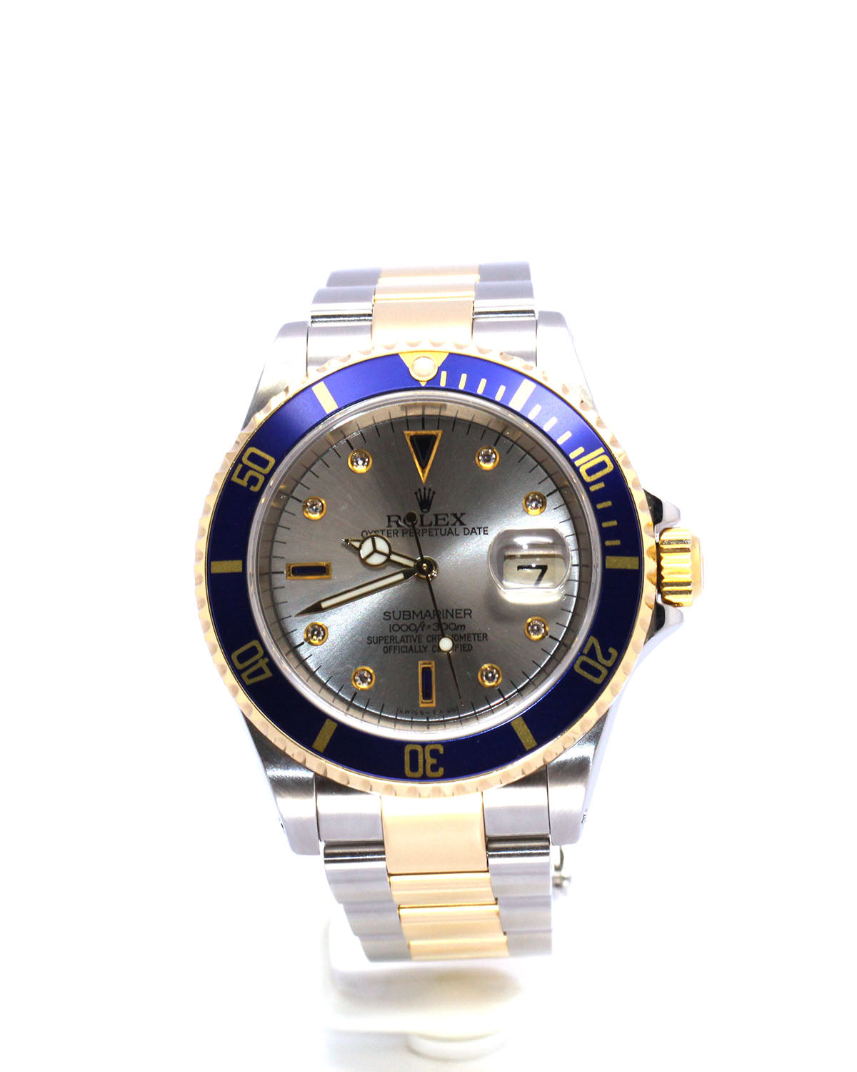 ROLEX SUBMARINER 16613 SLATE SERTI DIAL WITH DIAMONDS & SAPPHIRES GOLD THRU CLASP