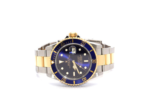 ROLEX SUBMARINER BLUE 16613T Z SERIAL TWO-TONE, GOLD CLASP