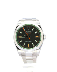 UNWORN ROLEX MILGAUSS 116400 BLACK DIAL WITH ORANGE ACCENTS
