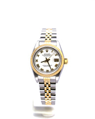 PRE-OWNED ROLEX DATEJUST 69163 WHITE ROMAN DIAL