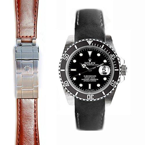 Everest Curved End Leather Strap for Rolex Submariner Deployant Buckle