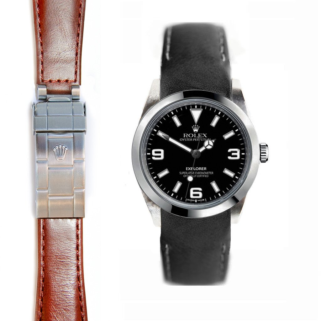 Everest Curved End Leather Strap for Rolex Explorer I Deployant Buckle