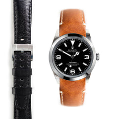 Everest Curved End Leather Strap with Tang Buckle for Rolex Explorer I