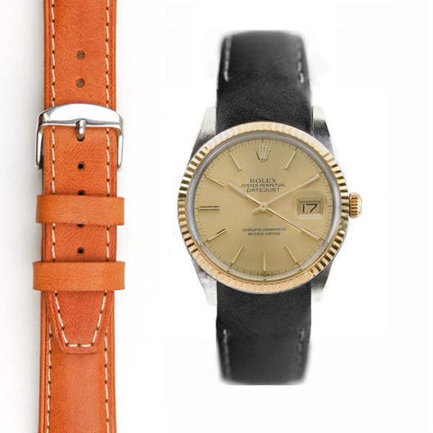 Everest Curved End Leather Strap with Tang Buckle for Rolex Datejust