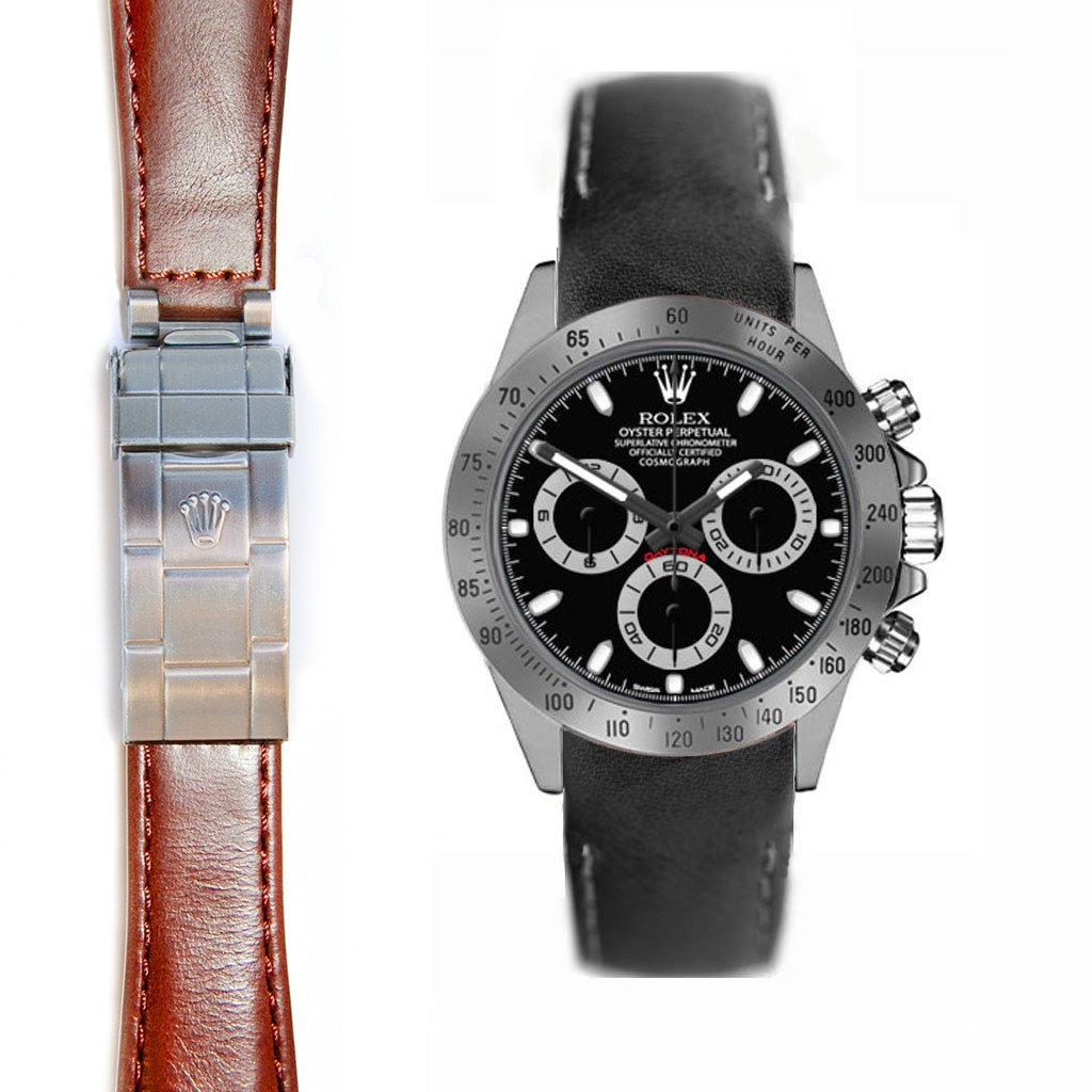 Everest Curved End Leather Strap for Rolex Daytona Deployant Buckle