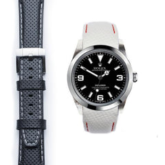 Everest Curved End Racing Leather Strap with Tang Buckle for Rolex Explorer I